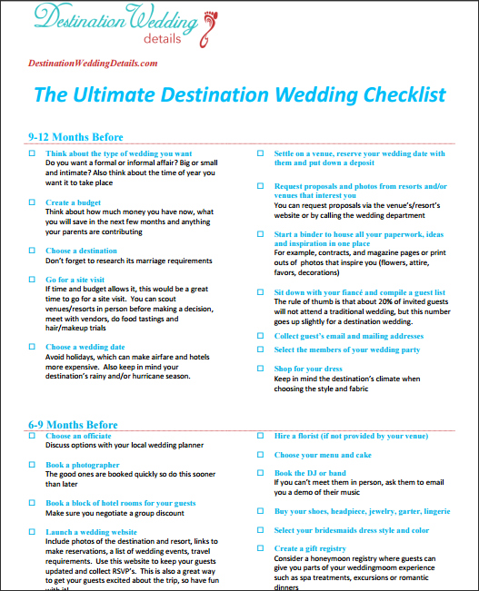 checklist for destination wedding