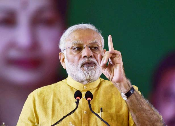 "Chennai: Prime minister Narendra Modi  addressing after  the launching the Tamil Nadu government's ""Amma scooter scheme"" for working women in Chennai on Saturday. The event coincided with the 70th birthday of late Chief Minister J Jayalalithaa. PTI Photo by R Senthil Kumar (PTI2_24_2018_000202B)"